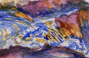 painting of river rapids in purple and tan