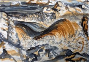 painting of river rapids in deep gray and rust