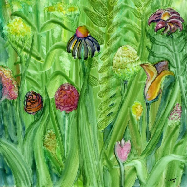 green painting of flowers