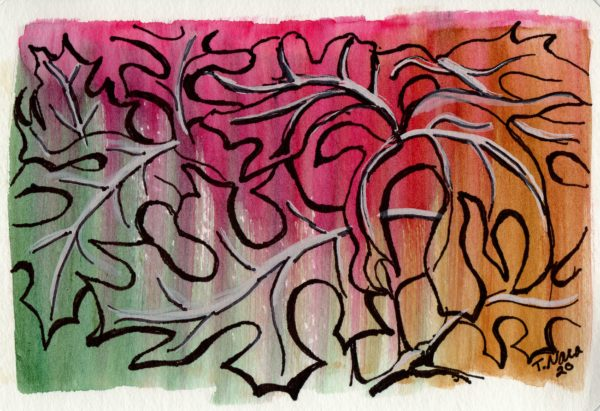 line drawing of leaves on colorful background
