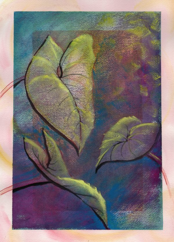3 yellow leaves on purple blue background