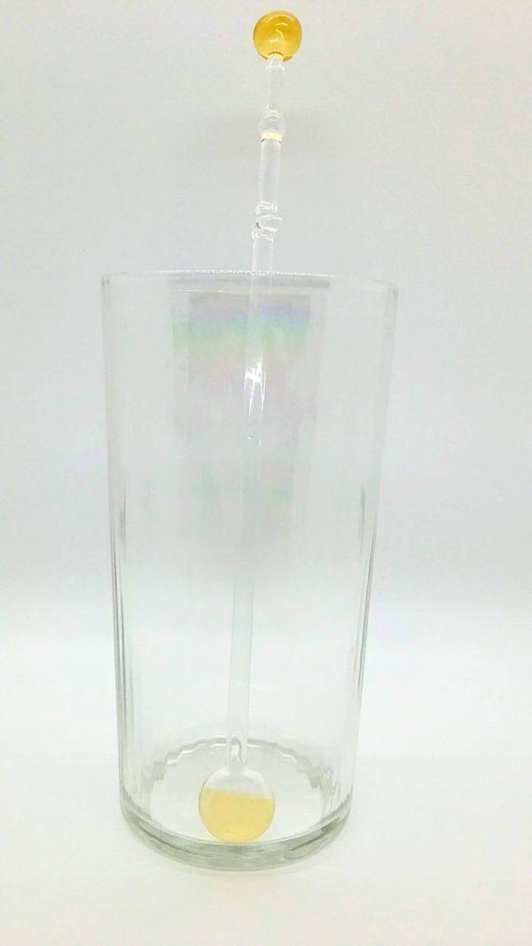 Amber glass swirly swizzle stick