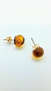 Amber (transparent) glass post/stud earrings