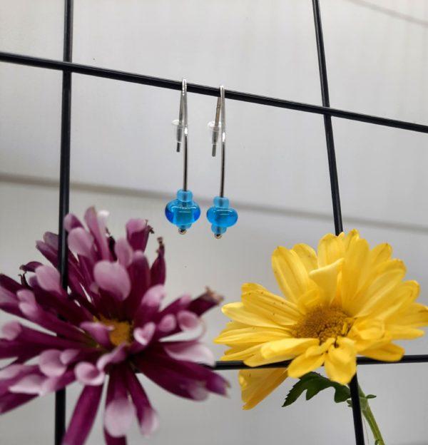 Aquamarine silver hook earrings