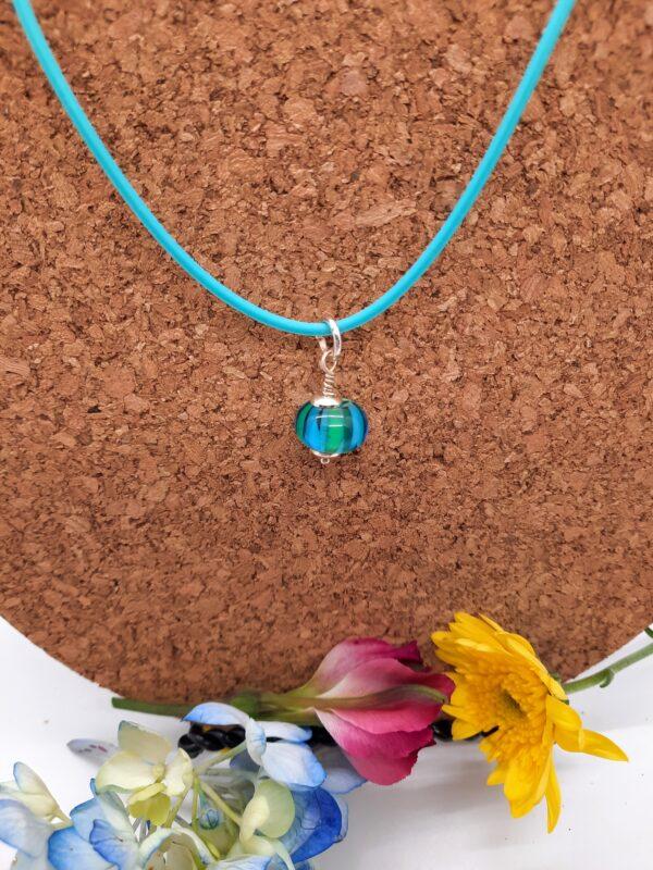 Aqua beach ball choker - necklace