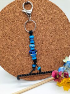 Aqua and turquoise with silvered ivory heart - keychain