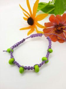 Barney - lime glass beads in purple hemp cord bracelet