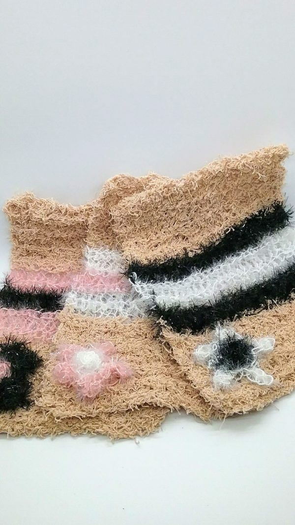 Beige with black, white and light pink dishcloths-solid