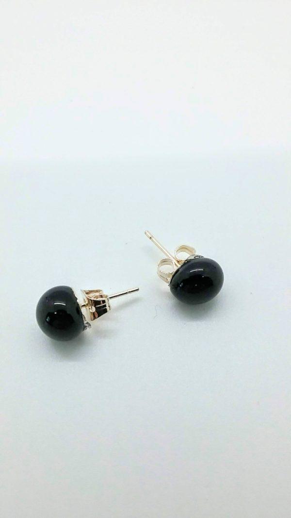 Black glass post/stud earrings