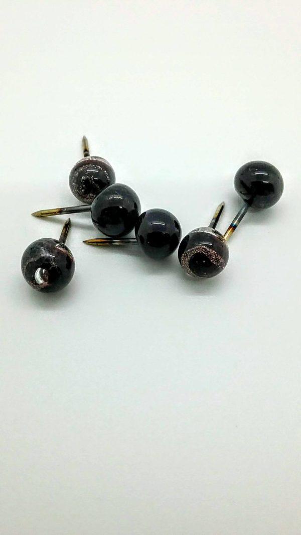 Black with swirly gold glass push pins