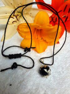 Black with foil on hemp - necklace