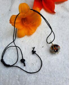 Black multi frit on hemp necklace
