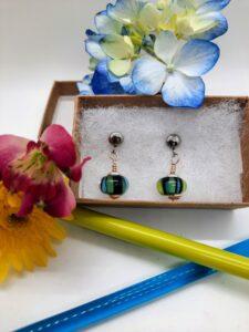 Black stripey post - dangle earrings