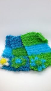Blue and lime dishcloths-solid