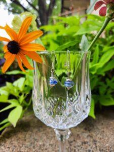 Blue swirly - dangle earrings