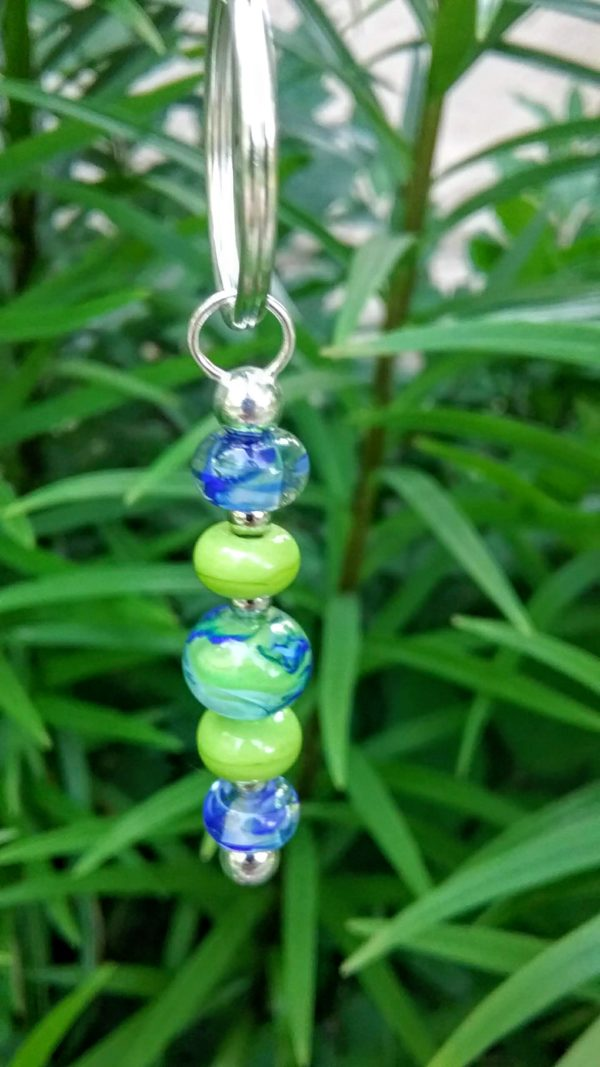 Blues and lime 5 bead keychain