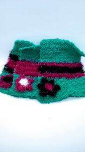 Bright teal with black and bright pink stripes dishcloths-solid