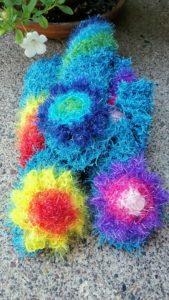 Bright blue with rainbow stripes dishcloth-solid