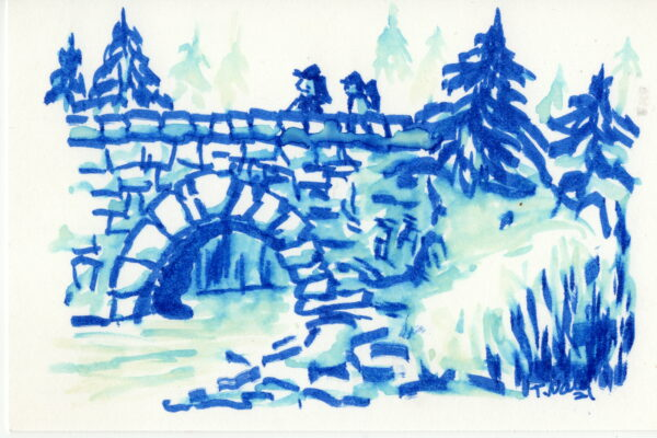 blue ink wash of two brothers on a stone arch bridge