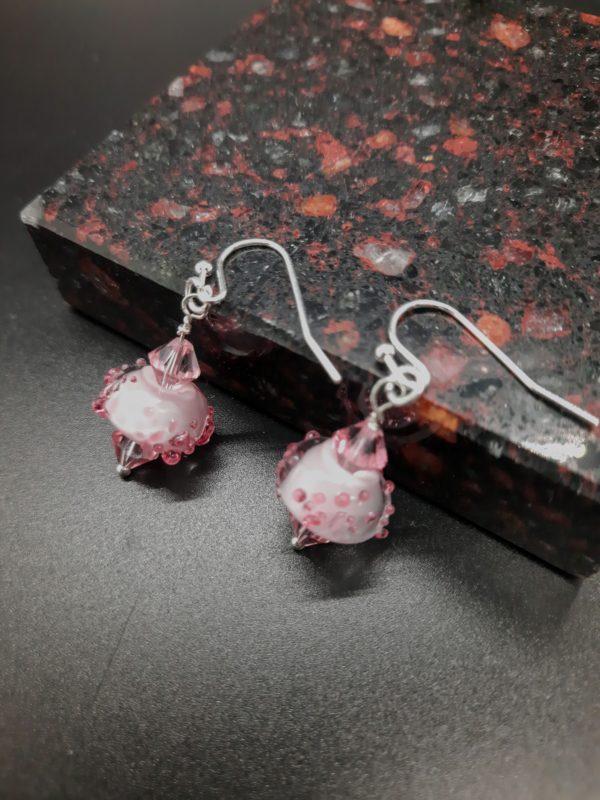 Bumpy Pink dangly earrings