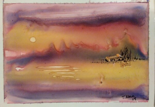 Abstract painting of cabin at sunrise
