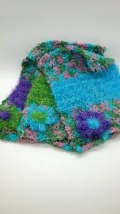Calypso with green, purple and blue dishcloths-multi