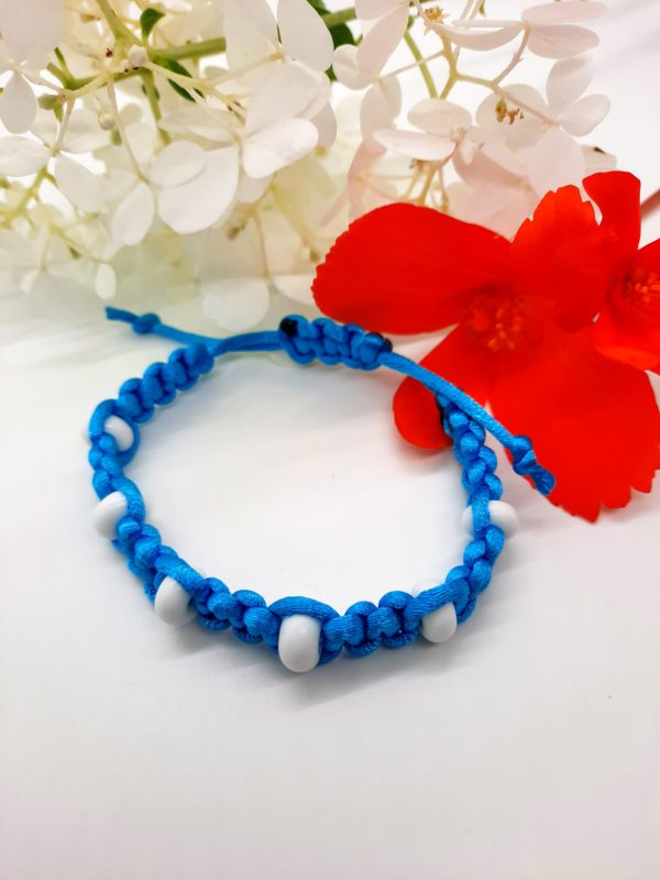 Caribbean - white glass beads in teal blue silky cord large bracelet