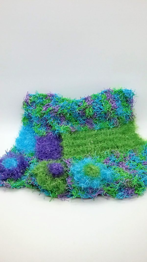 Caribbean with green, purple and blue dishcloths-multi