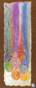 hand painted church textile altar parament / banner with rainbow colored stripes, golden swirls, and genuine golden mica flakes