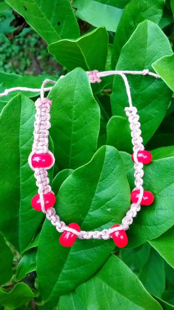 Cherry Chip - red glass beads in pink hemp