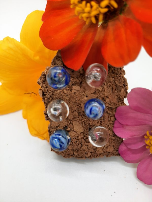 Clear with blue swirly glass push pins