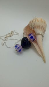 Cobalt blue heart with lavendar glass bead pendant on silver necklace
