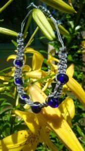 Stormy - cobalt glass bead in gray hemp