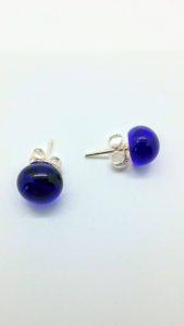 Cobalt blue glass post/stud earrings