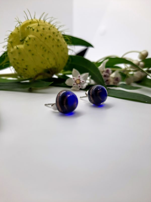 Gold swirl - cobalt blue post earrings