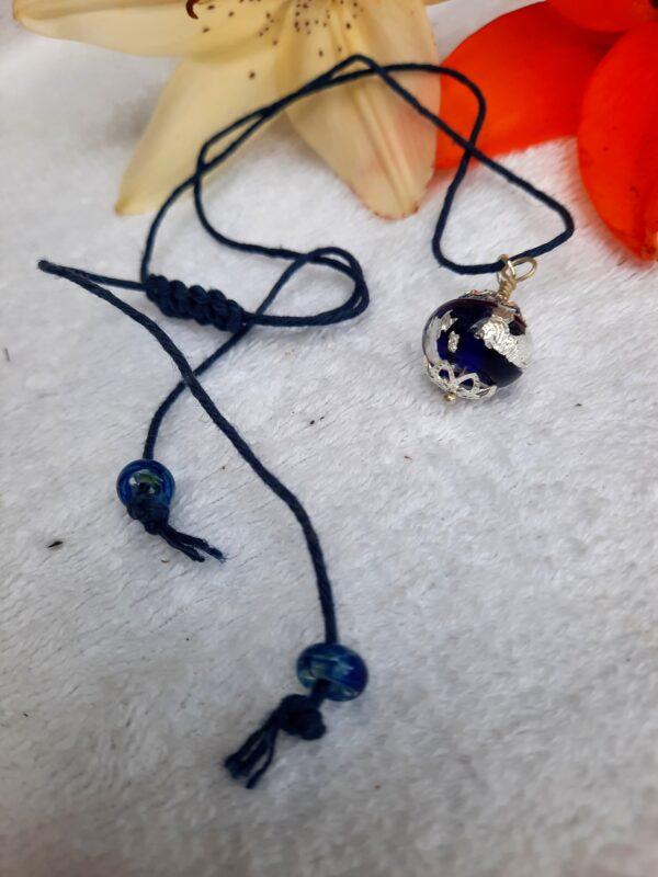 Cobalt blue foil hemp necklace