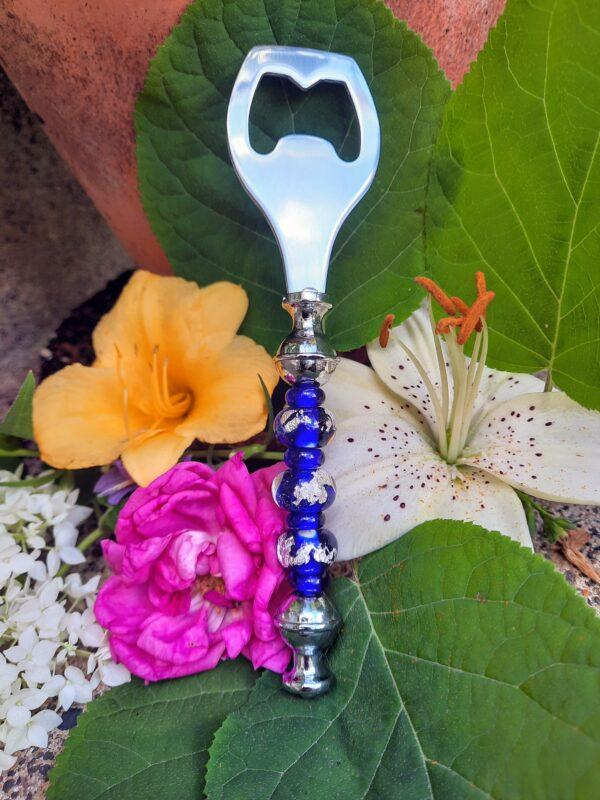 Cobalt with silver foil fancy bottle opener