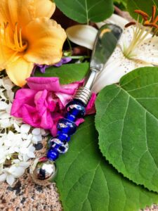 Cobalt blue with silver foil glass beads canape knife