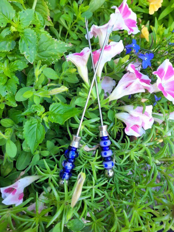 Lavender and cobalt blue appy forks