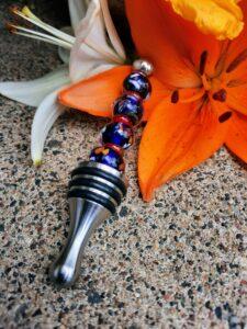 Cobalt blue with multi colors bottle stopper