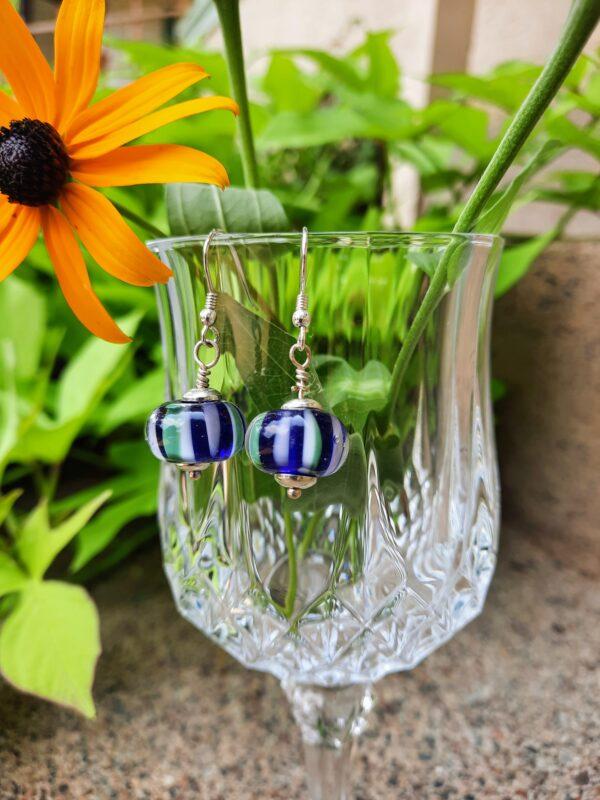 Cobalt Stripey dangley earrings