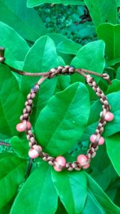 Coral glass beads in silky cord - large