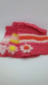 Coral with orange, light pink and yellow stripes dishcloths-solid