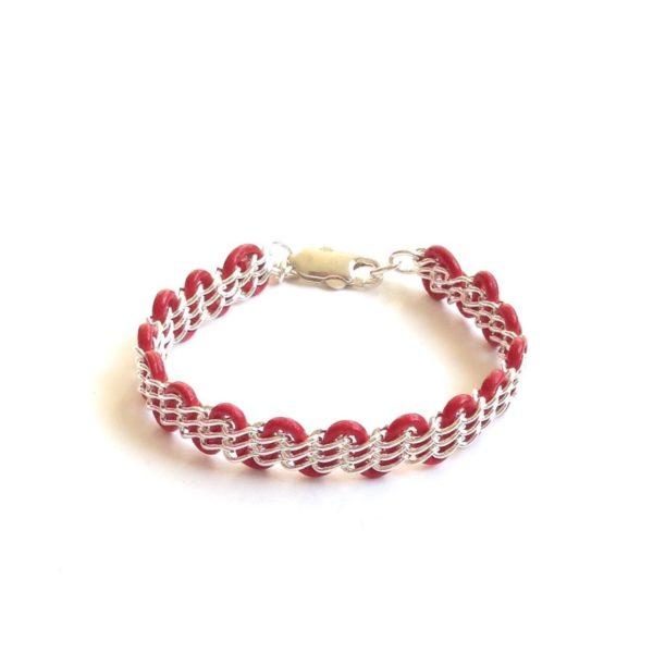 Solid Design Studios Cornelia Bracelet - Sterling Silver & Red Leather