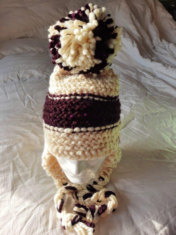 Cream and sparkling purple stripe hat