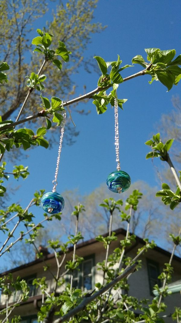 Dark green and cobalt drop earrings on silver chains