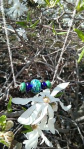 Dark green and cobalt blue on silver necklace