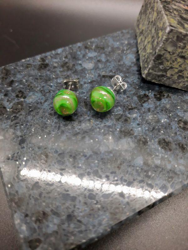 Dark green gold swirl post earrings