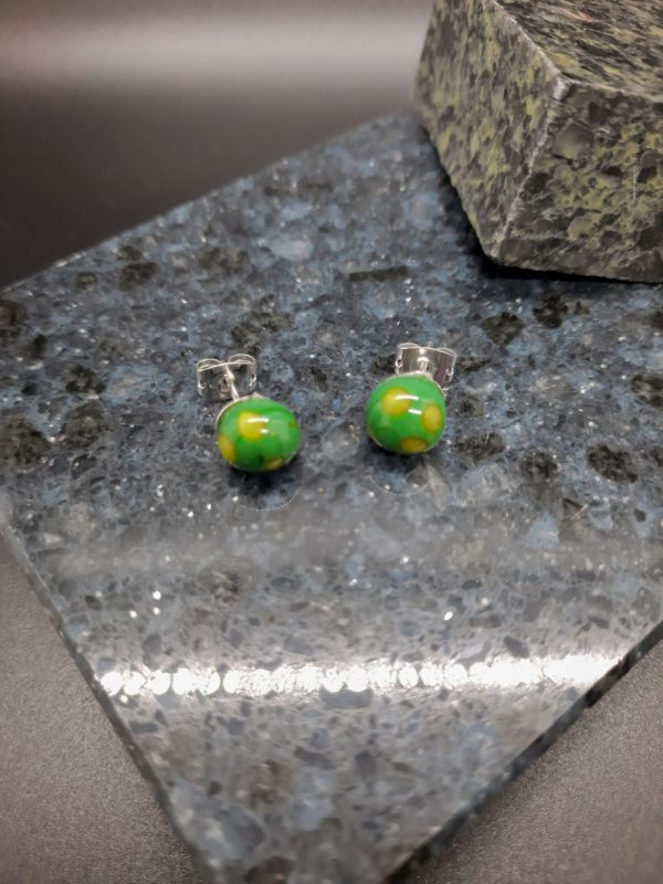 Dark green with lime dots post earrings