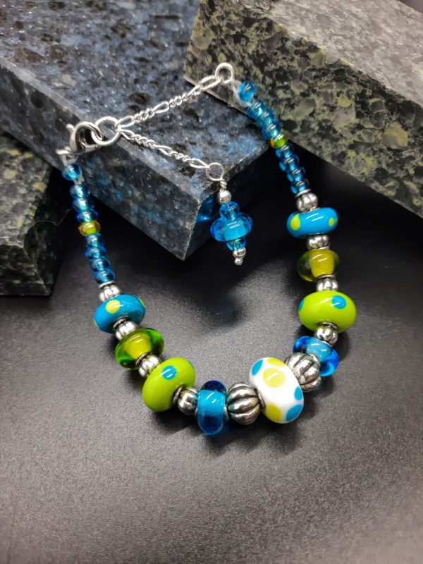 Dotty lime and turquoise bracelet